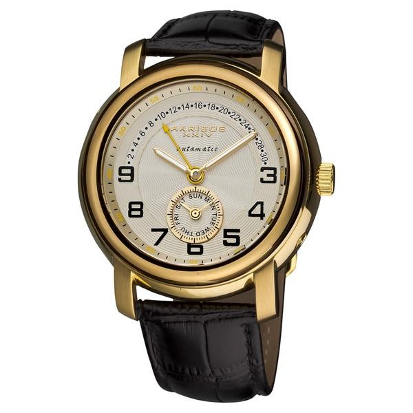 Akribos XXIV Men's Automatic Retrograde Date Leather Gold-Tone Strap Watch