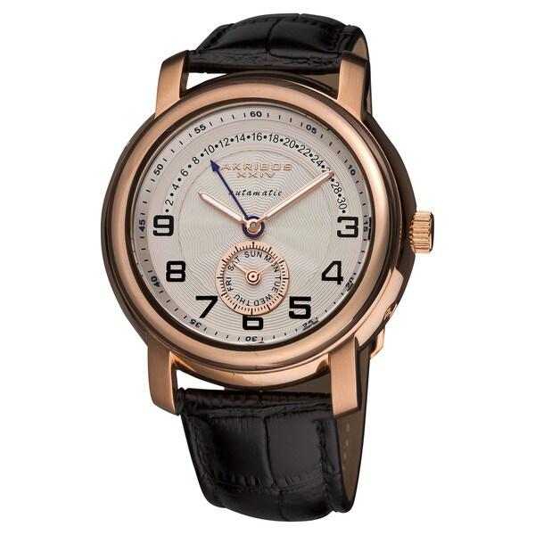 Akribos XXIV Men's Automatic Retrograde Date Leather Strap Watch