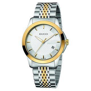 Gucci Men's 'Timeless' Silver Dial Two Tone Stainless Steel Watch