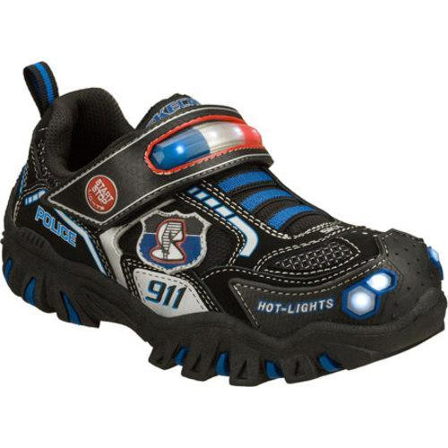 Boys' Skechers Hot Lights Damager Police II Black/Blue