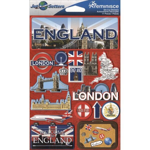 "Jet Setters International Dimensional Stickers 4.5""X6.75""-England"