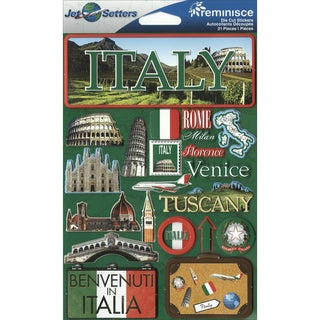 "Jet Setters International Dimensional Stickers 4.5""X6.75""-Italy"