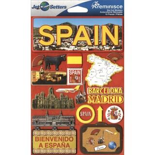 "Jet Setters International Dimensional Stickers 4.5""X6.75""-Spain"