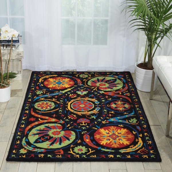Hand-tufted Suzani Multi-color Floral Medallion Rug (8' x 10'6)