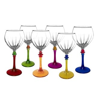 Italian Multicolor Fun Wine Glasses (Set of 6)