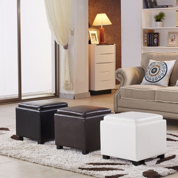Shop Classic Faux Leather Square Storage Ottoman Free