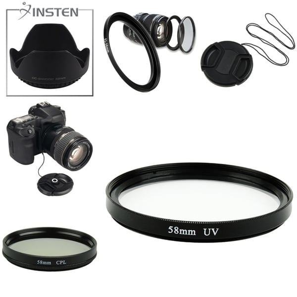 INSTEN Hood/ UV Filter/ Cap/ Adapter/ Holder/ Filter for 58-mm Camera