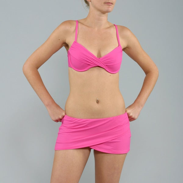 Anne Cole Pink Push-up Top Sarong Swim Skirt 2-piece Swimsuit