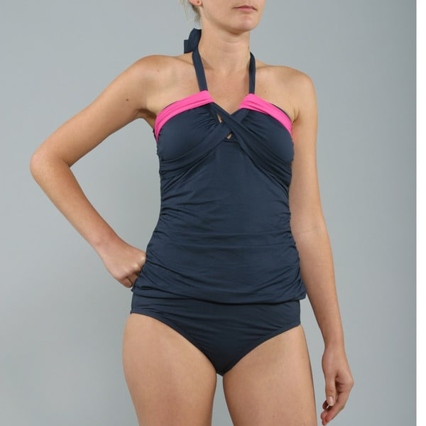 Anne Cole Navy/ Pink Bandeaukini 2-piece Swimsuit