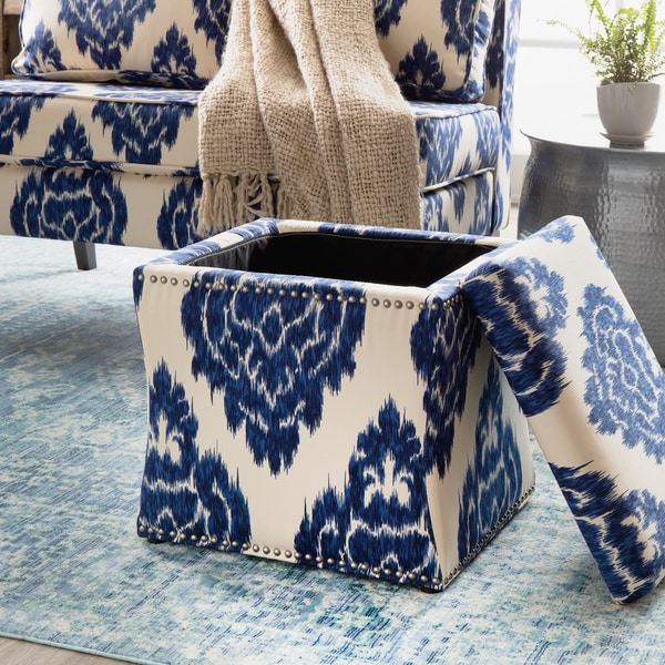 Curved Indigo Ikat Storage Ottoman - Curved Indigo Ikat Storage Ottoman - Free Shipping Today