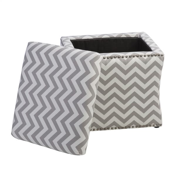 Outstanding Shop Curved Grey Chevron Storage Ottoman Free Shipping Caraccident5 Cool Chair Designs And Ideas Caraccident5Info