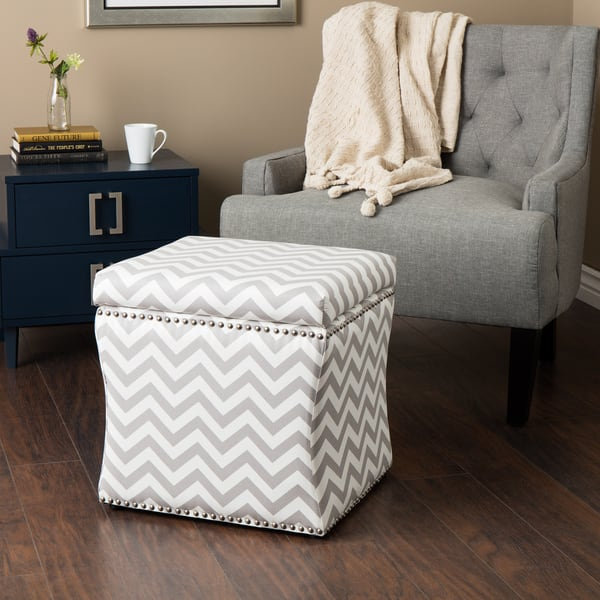 Cool Shop Curved Grey Chevron Storage Ottoman Free Shipping Caraccident5 Cool Chair Designs And Ideas Caraccident5Info