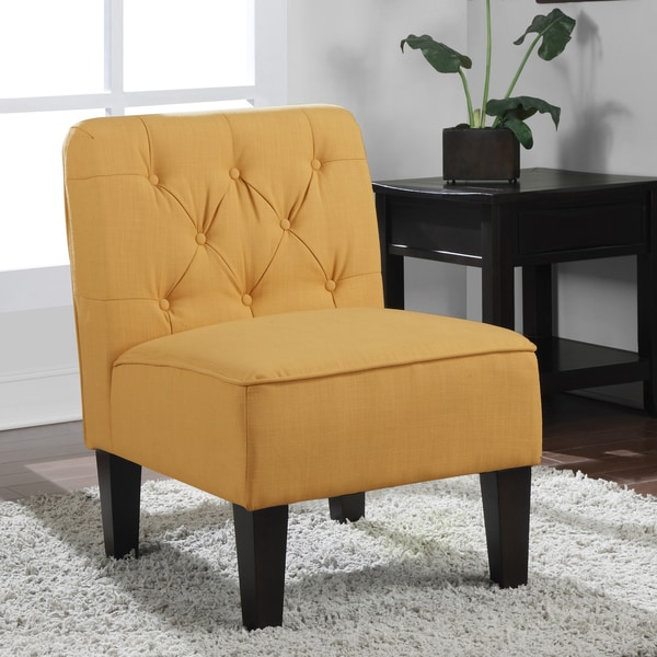 Tufted French Yellow Slipper Chair
