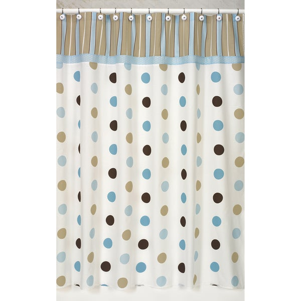 Blue And Chocolate Bathroom: Sweet Jojo Designs Blue And Brown Mod Dots Shower Curtain
