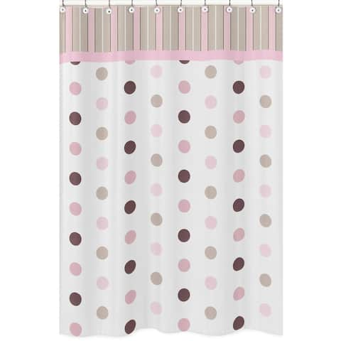 Sweet Jojo Designs Pink and Brown Mod Dots Shower Curtain