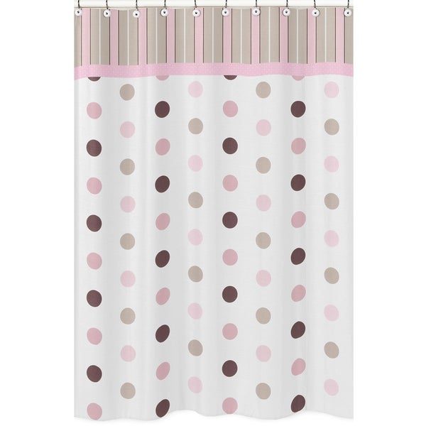 Shower Curtains Pink And Brown.Shop Sweet Jojo Designs Pink And Brown Mod Dots Shower Curtain