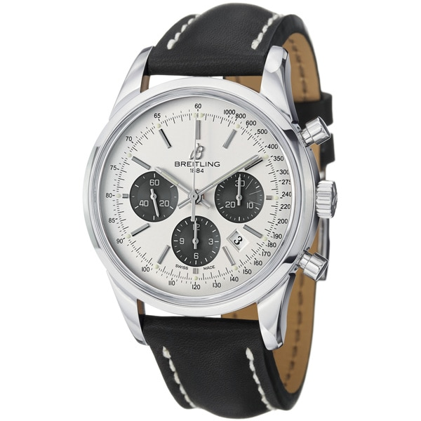 Breitling Men's 'TransOcean' Silver Dial Black Leather Strap Watch
