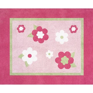 Sweet JoJo Designs Pink and Green Flower Cotton Floor Rug