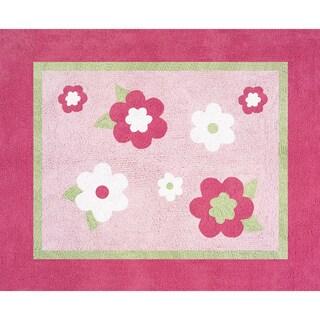 Sweet JoJo Designs Pink and Green Flower Cotton Floor Rug