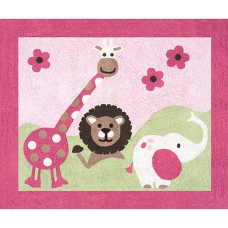 Sweet JoJo Designs Pink and Green Jungle Friends Cotton Floor Rug