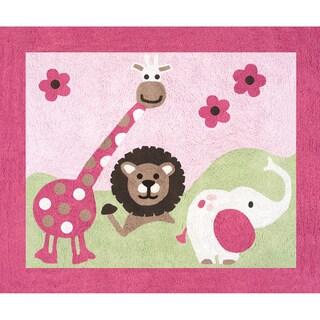 Sweet JoJo Designs Pink and Green Jungle Friends Cotton Floor Rug