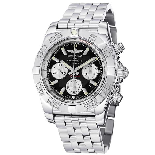 Breitling Men's 'Chronomat B01' Black Dial Stainless Steel Watch