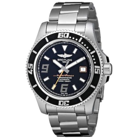 Breitling Men's 'SuperOcean' Black Dial Stainless Steel Watch
