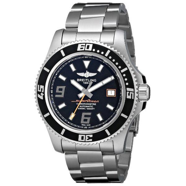 Breitling Men's 'SuperOcean' Black Dial Stainless Steel Watch. Opens flyout.