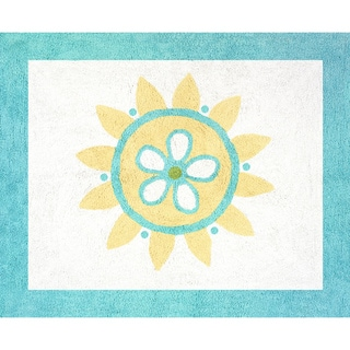 Sweet JoJo Designs Turquoise and Lime Layla Cotton Floor Rug