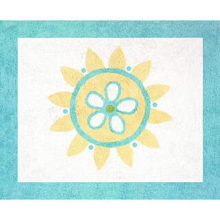 Sweet JoJo Designs Turquoise and Lime Layla Cotton Floor Rug