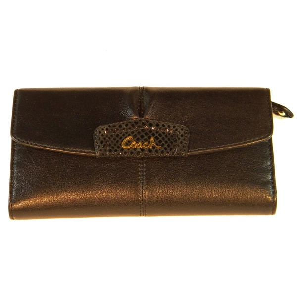 Coach 'Ashley' Brown Leather Checkbook Wallet