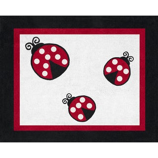 Sweet JoJo Designs Polka Dot Ladybug Cotton Floor Rug