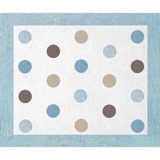 Sweet JoJo Designs Blue and Brown Mod Dots Cotton Floor Rug