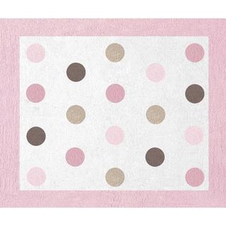 Sweet JoJo Designs Pink and Brown Mod Dots Cotton Floor Rug