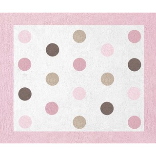 Sweet JoJo Designs Pink and Brown Mod Dots Cotton Floor Rug