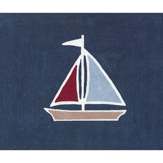 Sweet JoJo Designs Nautical Nights Sailboat Cotton Floor Rug