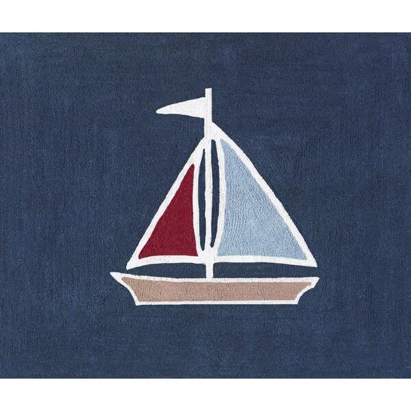 Sweet JoJo Designs Nautical Nights Sailboat Cotton Floor Rug