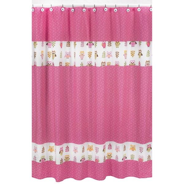 Sweet Jojo Designs Pink Happy Owl Kids Shower Curtain