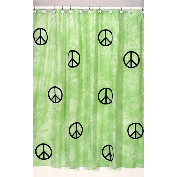 Shop Sweet Jojo Designs Lime Groovy Peace Sign Tie Dye Shower Curtain