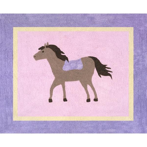 Sweet JoJo Designs Pretty Pony Horse Cotton Floor Rug