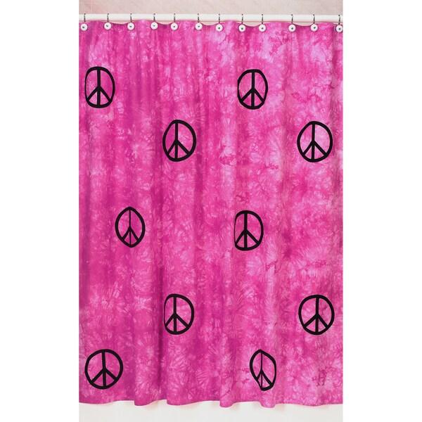 Sweet Jojo Designs Pink Groovy Peace Sign Tie Dye Shower Curtain