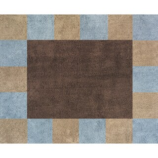 Sweet JoJo Designs Soho Blue and Brown Cotton Floor Rug