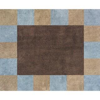 Sweet JoJo Designs Soho Blue and Brown Cotton Floor Rug
