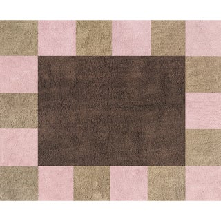 Sweet JoJo Designs Soho Pink and Brown Cotton Floor Rug