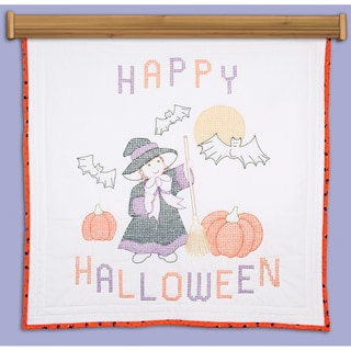 """Stamped White Wall Or Lap Quilt 36""""X36""""-Witch"""