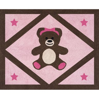 Sweet JoJo Designs Pink Teddy Bear Accent Floor Rug