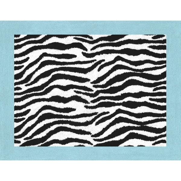 Shop Sweet JoJo Designs Turquoise Funky Zebra Floor Rug