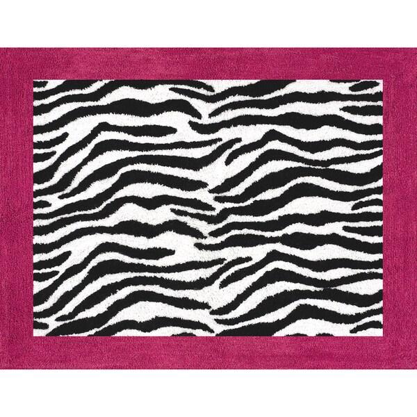 Shop Sweet JoJo Designs Funky Zebra Pink Border Rug