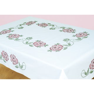 "Stamped White Table Cloth 50""X70""-XX Roses"