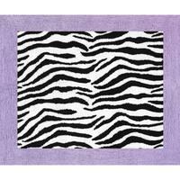 Sweet Jojo Designs Funky Zebra Pink Border Rug Free